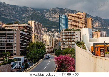 Monaco Monte Carlo - November 4 2016: Densely populated residential district of Monaco. Monaco is the second smallest and the most densely populated country in the world.