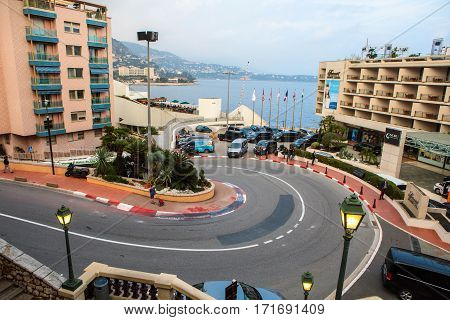 Monaco Monte Carlo - November 4 2016: The Fairmont Hairpin or Loews Curve a famous section of the Monaco Grand Prix and the slowest corner in Formula One.