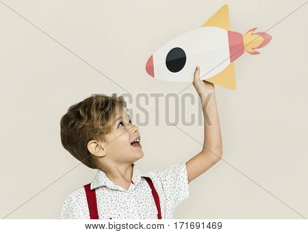 Little Boy Smiling Happiness Paper Craft Arts Rocket Studio Portrait