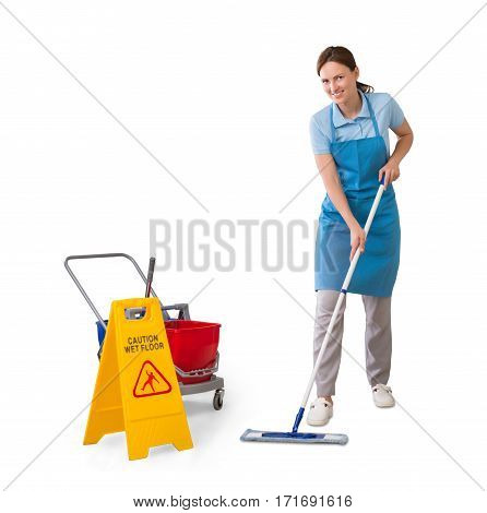 Young Female Janitor Cleaning Floor Using Mop On White Background