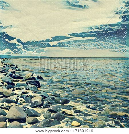 Digital illustration - The sea with stones. Rocky beach of desert tropical island. Ocean horizon view. Summer travel wanderlust. Seascape in orient style. Square background poster art print