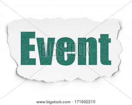 Holiday concept: Painted green text Event on Torn Paper background with  Tag Cloud