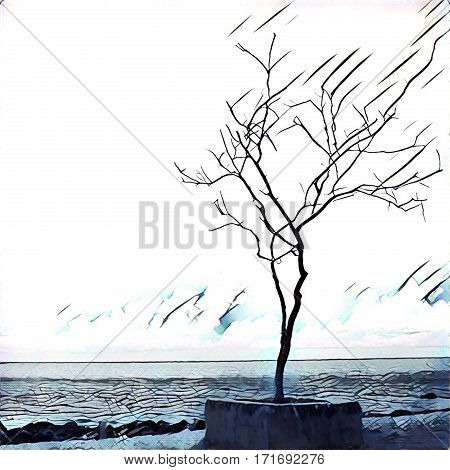 Digital illustration - Lonely tree standing on the sea shore. Silhouette of lifeless tree on the beach. Sketching of ocean horizon view. Poster banner template with place for text. Conceptual image