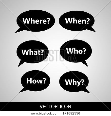 Vector black icons with questions. Vector illustration.