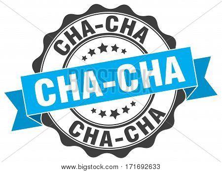 cha-cha. stamp. sign. seal. round. retro. ribbon