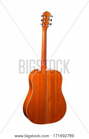 Acoustic guitar isolated on a white background Back view