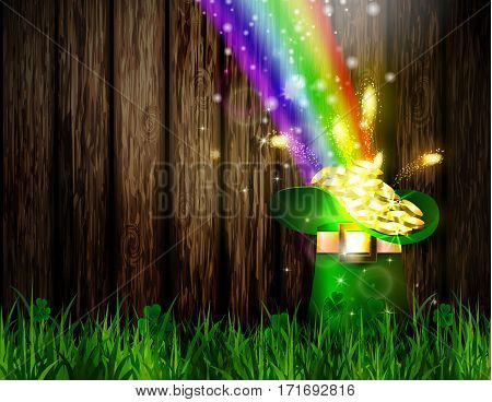 St. Patrick s Day symbol green hat full of gold coins and rainbow Vector illustration