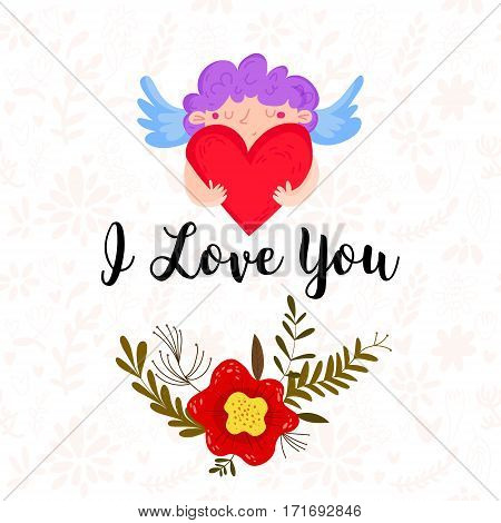 Happy Valentines Day Card With Cupid And Flowers- Stock Vector