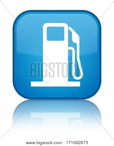 Fuel Dispenser Icon Shiny Cyan Blue Square Button