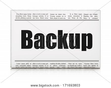 Programming concept: newspaper headline Backup on White background, 3D rendering