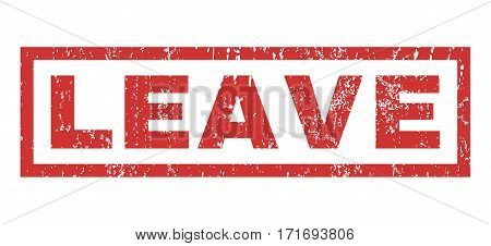 Leave text rubber seal stamp watermark. Tag inside rectangular banner with grunge design and dust texture. Horizontal vector red ink emblem on a white background.