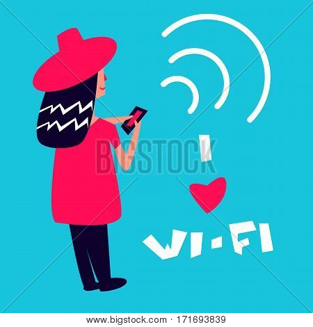 I love wi-fi poster with women vector illustration