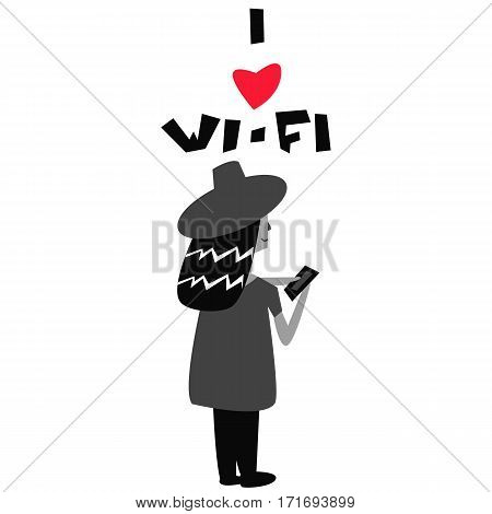 I love wi-fi poster with women vector illustration heart