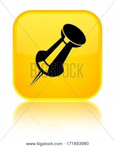 Push Pin Icon Shiny Yellow Square Button