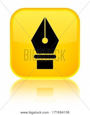 Pen Icon Shiny Yellow Square Button