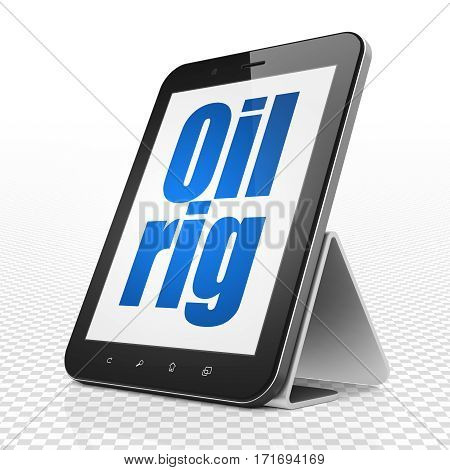 Industry concept: Tablet Computer with blue text Oil Rig on display, 3D rendering
