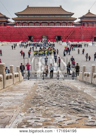 Beijing, China - Oct 30, 2016: Back of Meridian Gate (Wumen) under works, as viewed from the Gate of Supreme Harmony (Taihemen), Forbidden City (Gu Gong, Palace Museum).