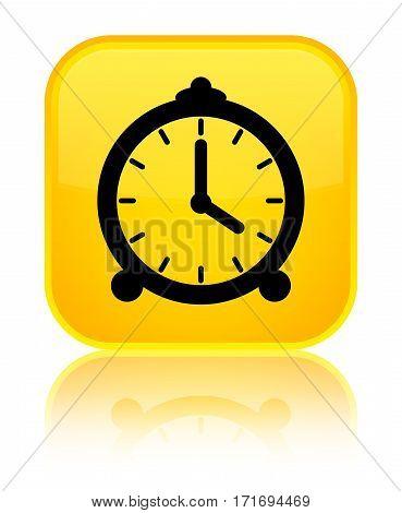 Alarm Clock Icon Shiny Yellow Square Button