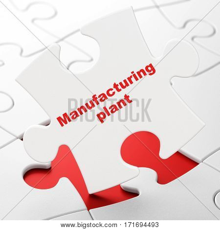 Manufacuring concept: Manufacturing Plant on White puzzle pieces background, 3D rendering