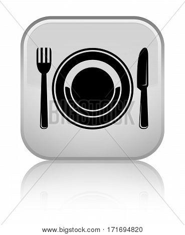 Food Plate Icon Shiny White Square Button