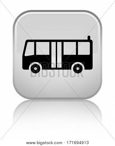 Bus Icon Shiny White Square Button