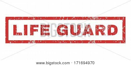 Life Guard text rubber seal stamp watermark. Tag inside rectangular shape with grunge design and scratched texture. Horizontal vector red ink emblem on a white background.