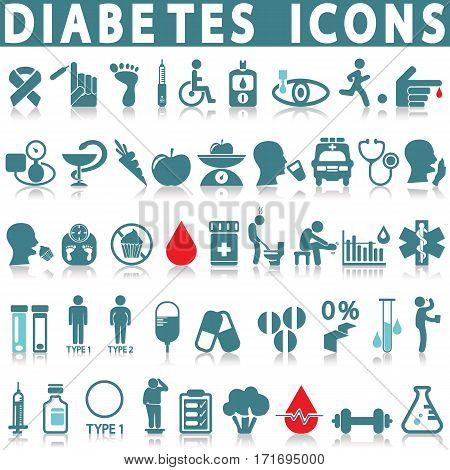 Set vector icons in design diabet and diabetes