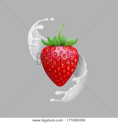 Milk splash and strawberry realistic vector illustration. Natural fruit products.