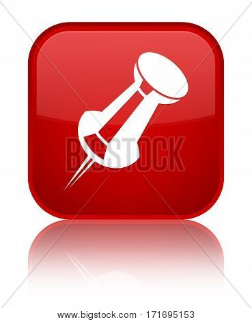 Push Pin Icon Shiny Red Square Button