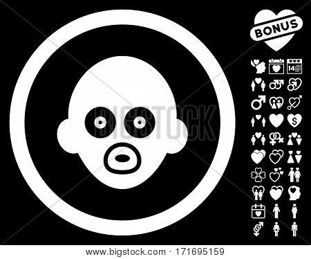 Baby Head pictograph with bonus romantic clip art. Vector illustration style is flat iconic white symbols on black background.