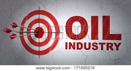 Success Industry concept: arrows hitting the center of target, Red Oil Industry on wall background, 3D rendering