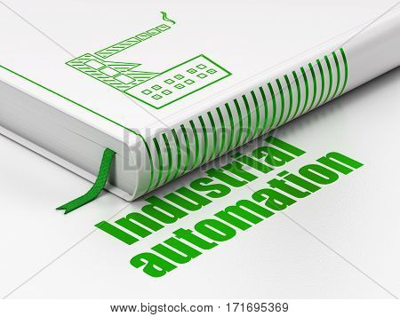 Industry concept: closed book with Green Industry Building icon and text Industrial Automation on floor, white background, 3D rendering