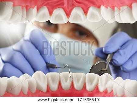 dentist checkup teeth , Inside mouth view