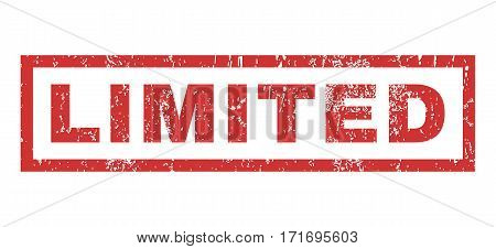 Limited text rubber seal stamp watermark. Caption inside rectangular banner with grunge design and scratched texture. Horizontal vector red ink emblem on a white background.
