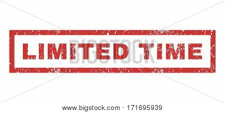 Limited Time text rubber seal stamp watermark. Tag inside rectangular shape with grunge design and dirty texture. Horizontal vector red ink sign on a white background.