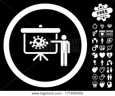 Bacteria Lecture pictograph with bonus decorative clip art. Vector illustration style is flat iconic white symbols on black background.