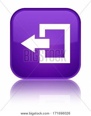 Logout Icon Shiny Purple Square Button