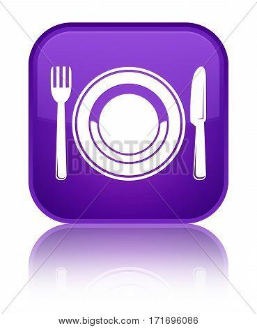 Food Plate Icon Shiny Purple Square Button