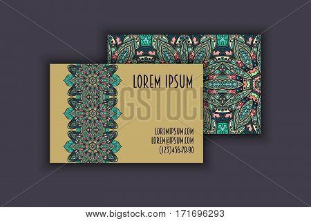 Vector Business Card Design Template With Ornamental Geometric Mandala Pattern. Vintage Decorative E