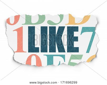 Social network concept: Painted blue text Like on Torn Paper background with  Hexadecimal Code