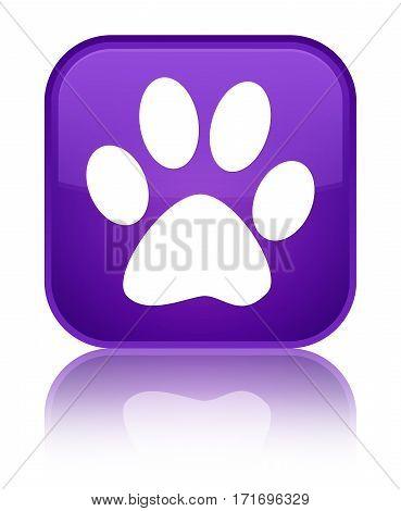Animal Footprint Icon Shiny Purple Square Button