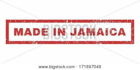 Made In Jamaica text rubber seal stamp watermark. Tag inside rectangular shape with grunge design and unclean texture. Horizontal vector red ink sticker on a white background.