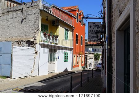 VODICE, CROATIA - SEPTEMBER 6, 2016: This is house of modern Croatian architecture which is typical for small coastal towns.