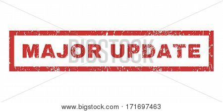 Major Update text rubber seal stamp watermark. Caption inside rectangular shape with grunge design and unclean texture. Horizontal vector red ink emblem on a white background.