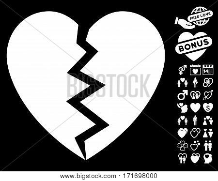 Broken Heart pictograph with bonus decorative pictograph collection. Vector illustration style is flat iconic white symbols on black background.
