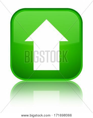 Upload Arrow Icon Shiny Green Square Button