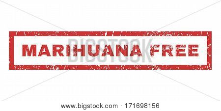 Marihuana Free text rubber seal stamp watermark. Caption inside rectangular banner with grunge design and unclean texture. Horizontal vector red ink sign on a white background.