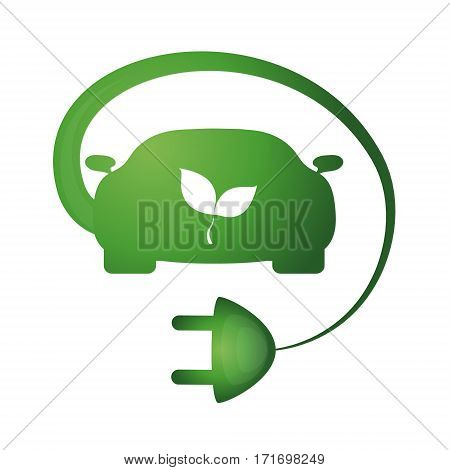 Bio car symbol vector the electrical plug and green leaf
