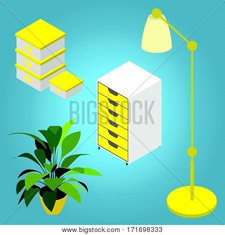 Set furniture isometric. Cupboard / Lamp / Boxes / Plant. Flat 3d isometric vector illustration.