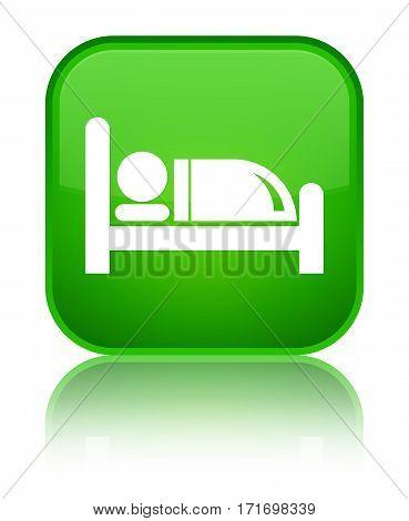Hotel Bed Icon Shiny Green Square Button